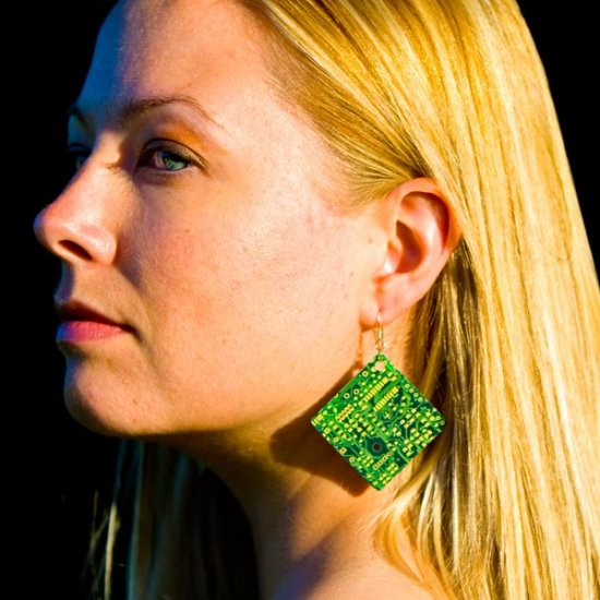 Circuitboard Earrings - Click Image to Close