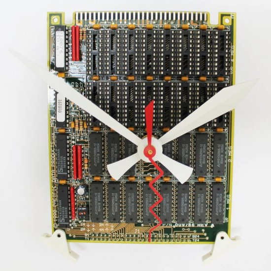 Circuitboard Clock - small with white hands - Click Image to Close