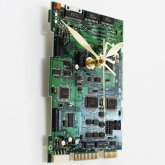 Circuitboard Clock - Medium with ornate gold hands