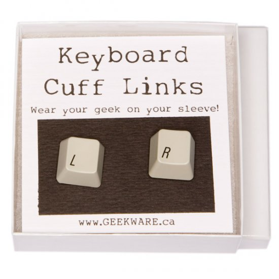 Keyboard Cufflinks - Left/Right, grey - Click Image to Close