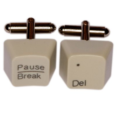 Keyboard Cufflinks - Del/Pausebreak, Grey