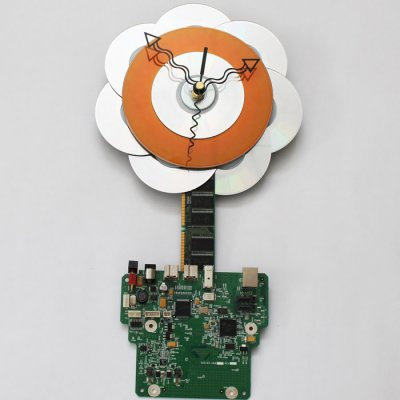 Tech Flower Wall Clock in Circuitboard Pot