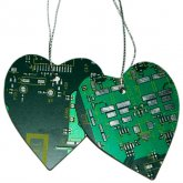 Circuitboard Heart Ornament Set