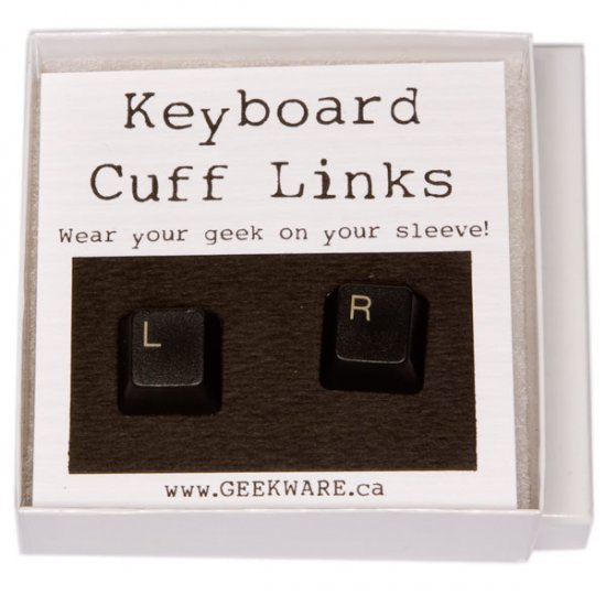 Keyboard Cufflinks - Left/Right, Black - Click Image to Close