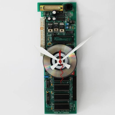 Circuitboard Clock - Medium Slim with silver disk face