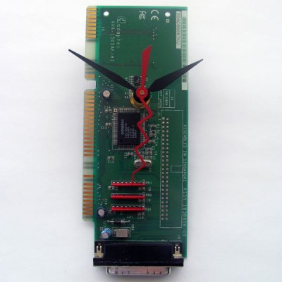 Circuitboard Clock - Small with black hands (# 1)