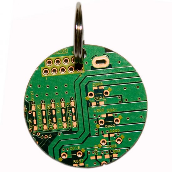 Circuitboard Key Chain - Round - Click Image to Close