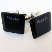 Laptop Cufflinks - Page Up/Down, Black