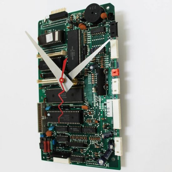 Circuitboard Clock - Medium with silver hands - Click Image to Close