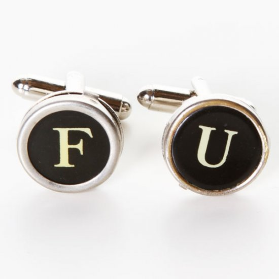 Typewriter Key Cufflinks - F U Round Keys - Click Image to Close